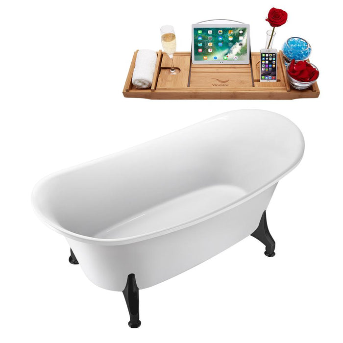 "67"" Streamline N1081BL-IN-WH Clawfoot Tub and Tray With Internal Drain"