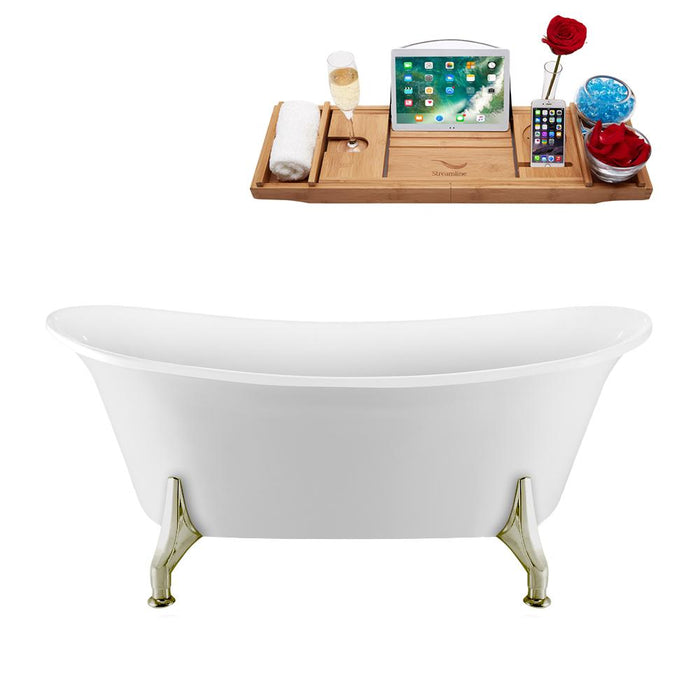 "67"" Streamline N1081BNK-IN-BNK Clawfoot Tub and Tray With Internal Drain"