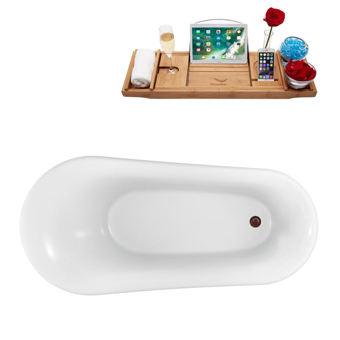 "59"" Streamline N1100CH-IN-ORB Clawfoot Tub and Tray With Internal Drain"