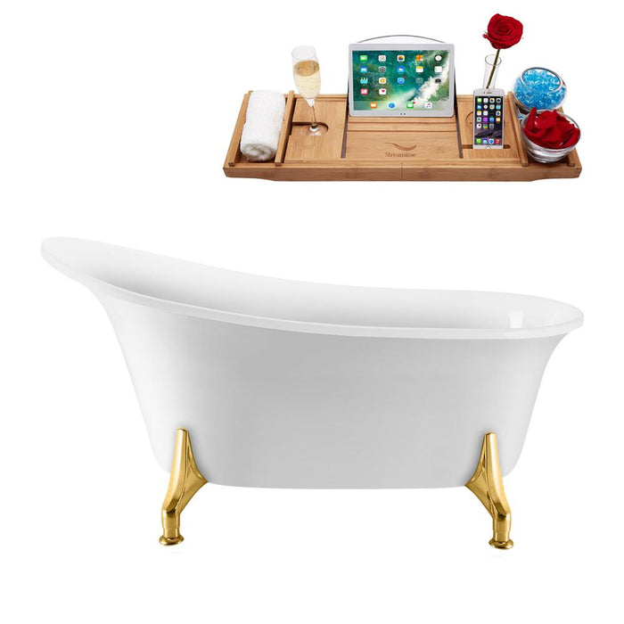 "59"" Streamline N1100GLD-IN-BNK Clawfoot Tub and Tray With Internal Drain"