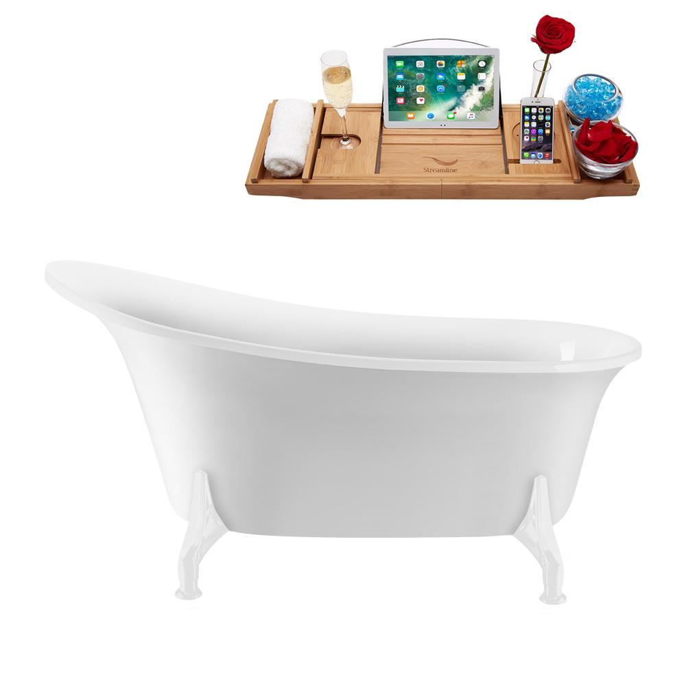 "59"" Streamline N1100WH-IN-BNK Clawfoot Tub and Tray With Internal Drain"