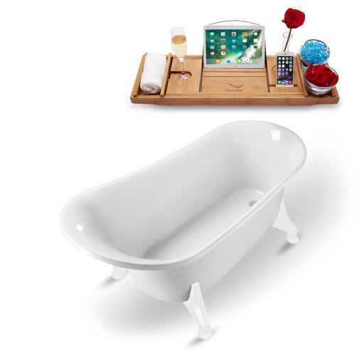 "59"" Streamline N1100WH Clawfoot Tub and Tray With Internal Drain"