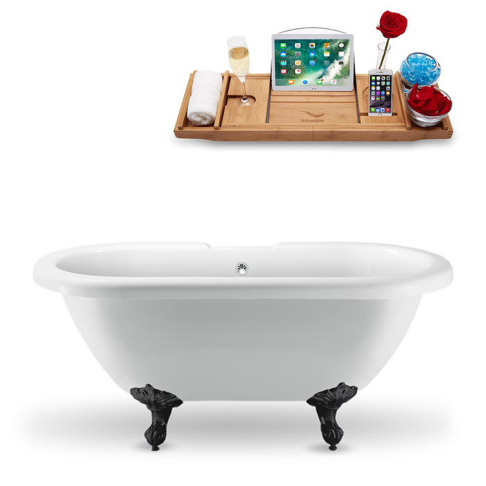 "67"" Streamline N1121BL-CH Clawfoot Tub and Tray With External Drain"