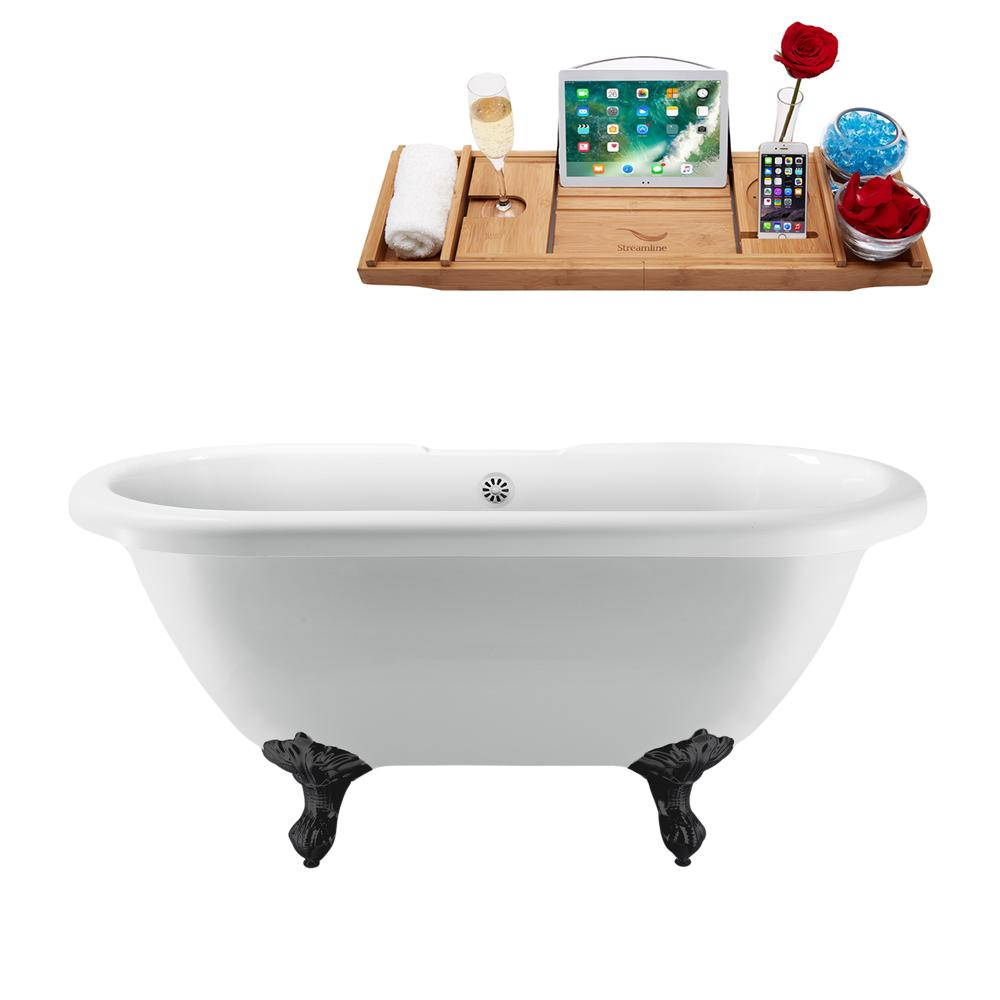 "67"" Streamline N1121BL-WH Clawfoot Tub and Tray With External Drain"