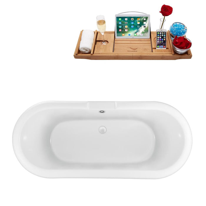 "67"" Streamline N1121BNK-WH Clawfoot Tub and Tray With External Drain"