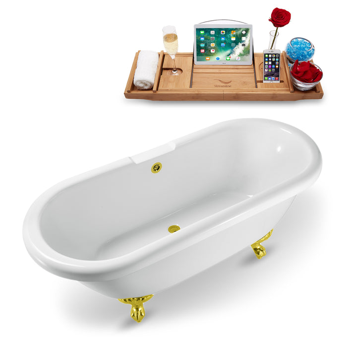 "67"" Streamline N1121GLD-GLD Clawfoot Tub and Tray With External Drain"