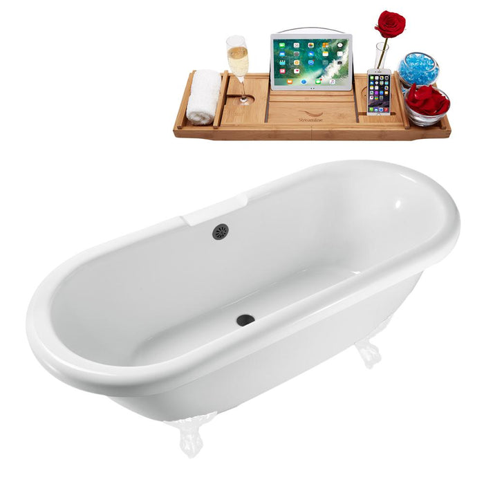 "67"" Streamline N1121WH-BL Clawfoot Tub and Tray With External Drain"