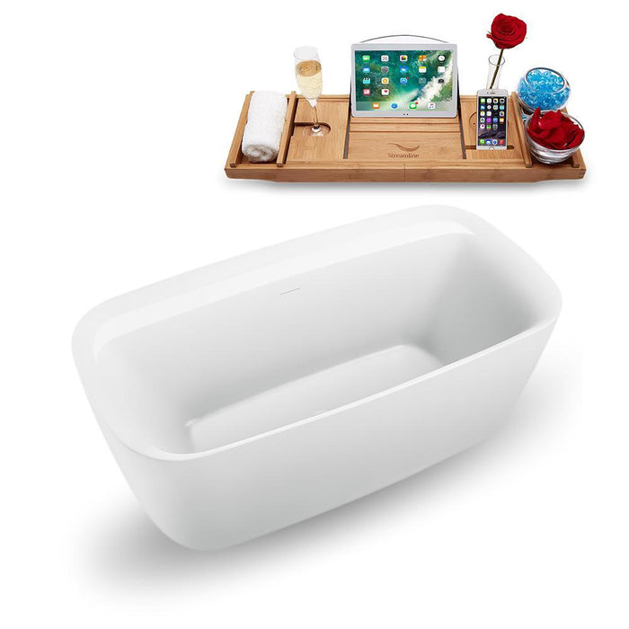 "59"" Streamline N1700WH Freestanding Tub and Tray with Internal Drain"