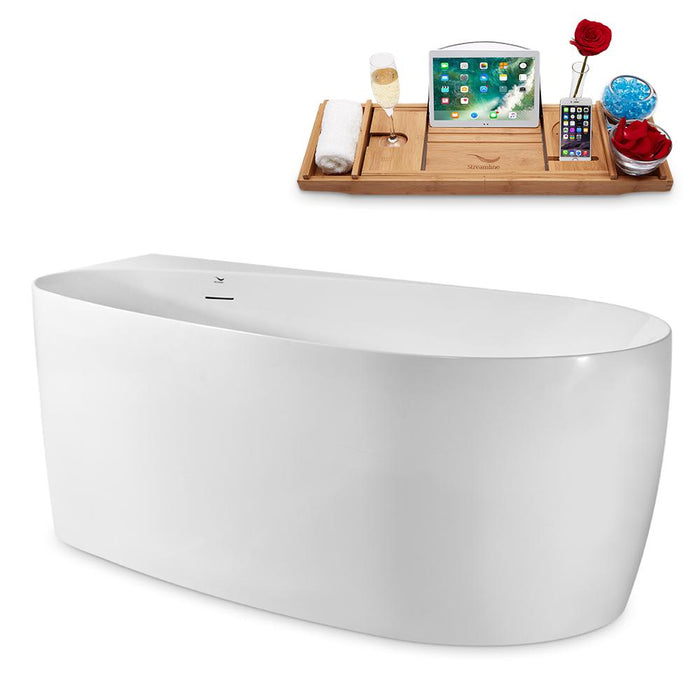 "59"" Streamline N2080CH Freestanding Tub and Tray With Internal Drain"