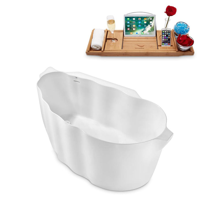 "59"" Streamline N2160WH Freestanding Tub and Tray With Internal Drain"