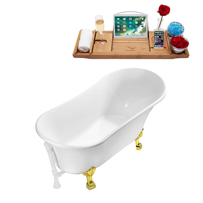 "67"" Streamline N340GLD-WH Soaking Clawfoot Tub and Tray With External Drain"