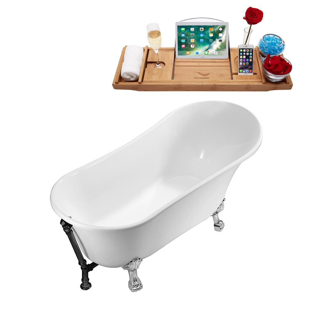 "59"" Streamline N341CH-BL Soaking Clawfoot Tub and Tray With External Drain"