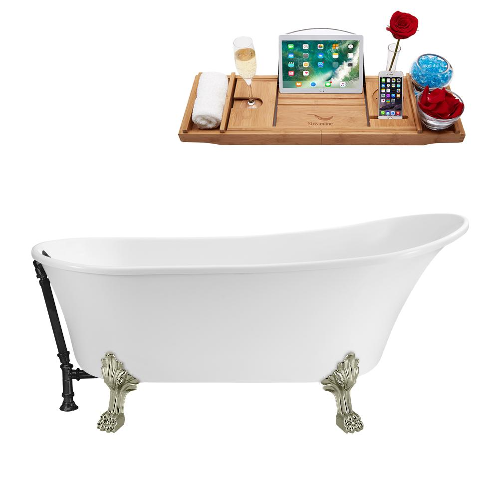 "63"" Streamline N342BNK-BL Soaking Clawfoot Tub and Tray With External Drain"
