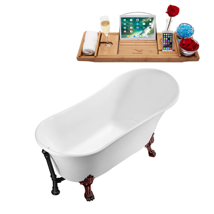 "63"" Streamline N342ORB-BL Soaking Clawfoot Tub and Tray With External Drain"