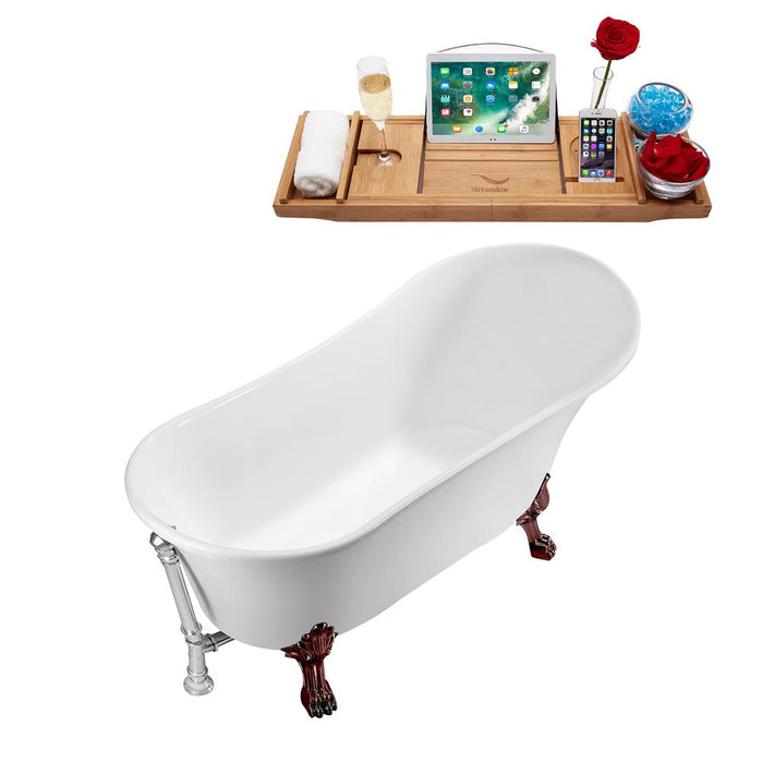 "63"" Streamline N342ORB-CH Soaking Clawfoot Tub and Tray With External Drain"