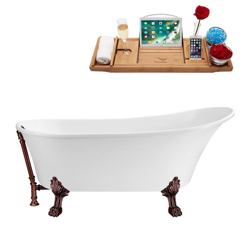 "63"" Streamline N342ORB-ORB Soaking Clawfoot Tub and Tray With External Drain"