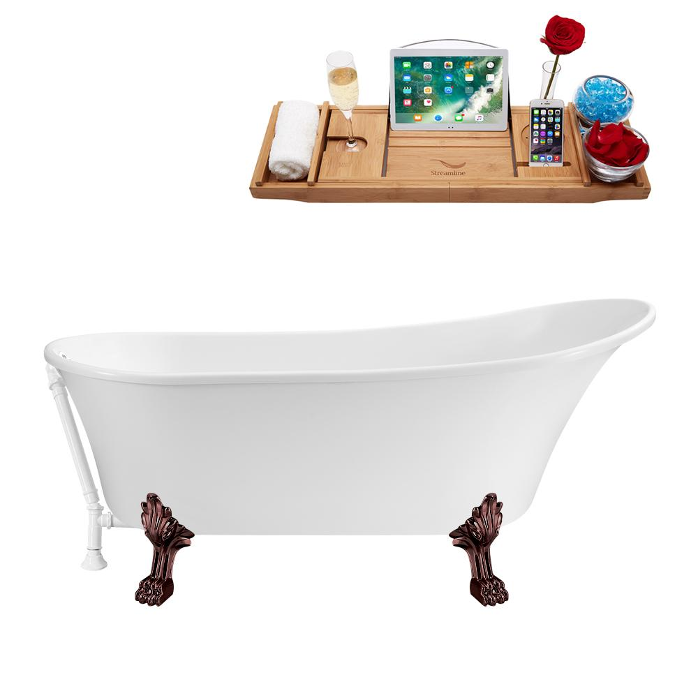 "63"" Streamline N342ORB-WH Soaking Clawfoot Tub and Tray With External Drain"