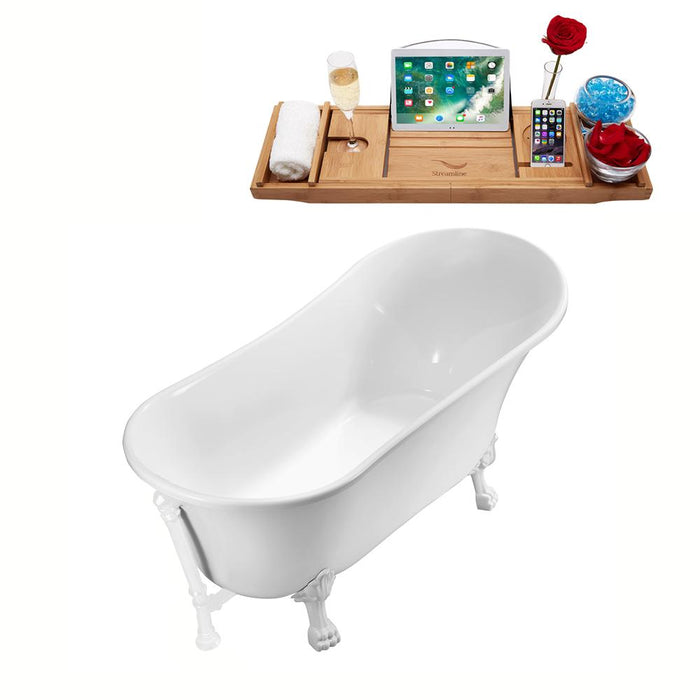 "63"" Streamline N342WH-WH Soaking Clawfoot Tub and Tray With External Drain"