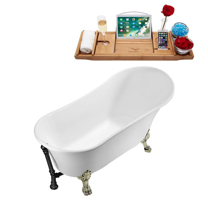 "55"" Streamline N343BNK-BL Clawfoot Tub and Tray With External Drain"