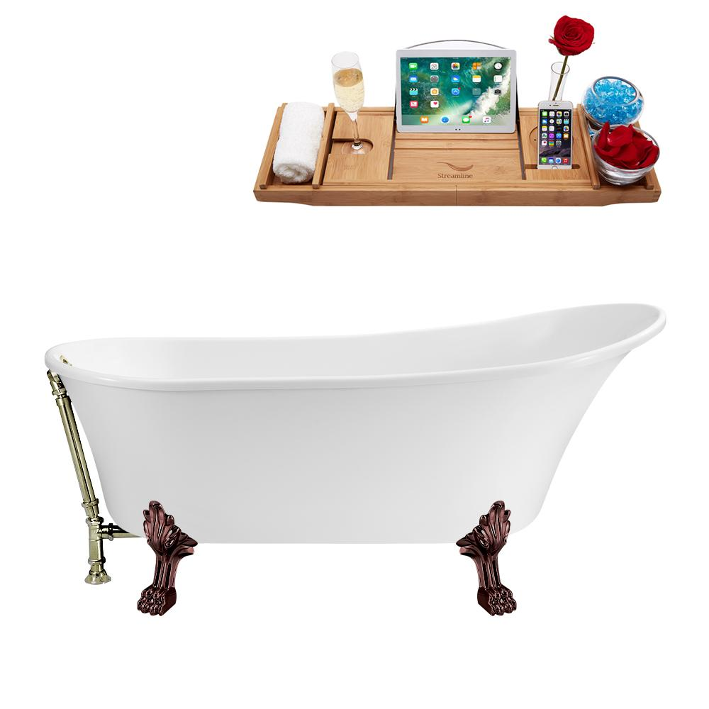 "55"" Streamline N343ORB-BNK Clawfoot Tub and Tray With External Drain"
