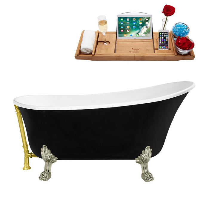 "59"" Streamline N344BNK-GLD Clawfoot Tub and Tray With External Drain"