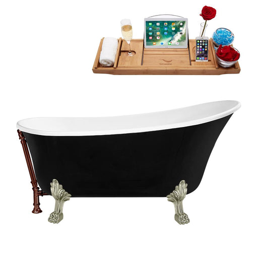 "59"" Streamline N344BNK-ORB Clawfoot Tub and Tray With External Drain"