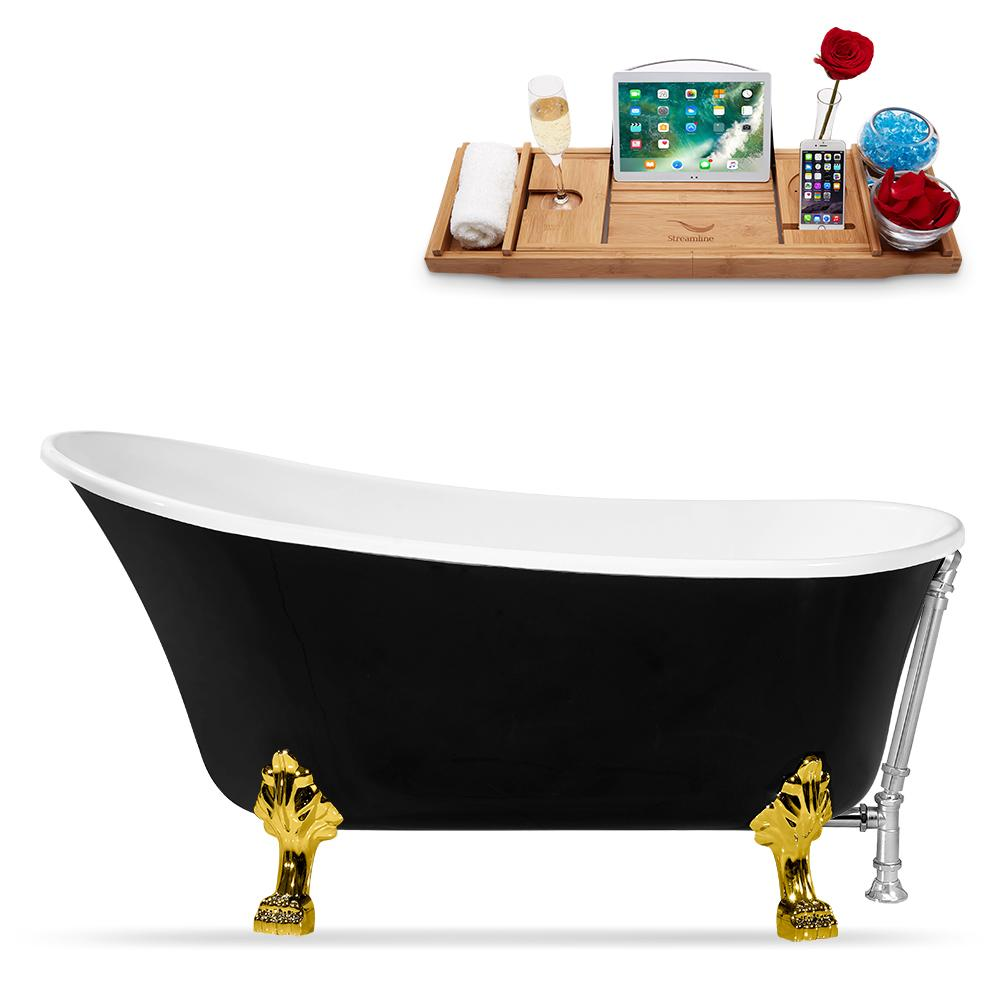 "59"" Streamline N344GLD-CH Clawfoot Tub and Tray With External Drain"