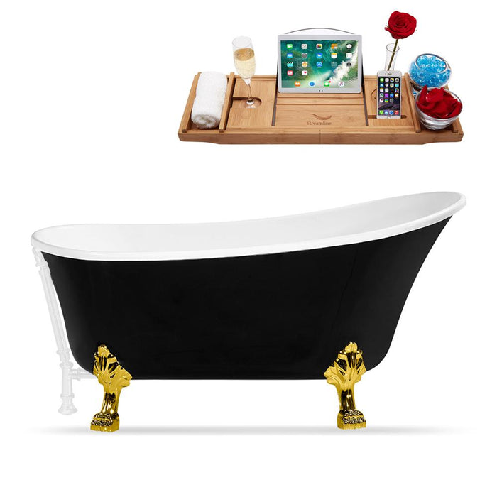 "59"" Streamline N344GLD-WH Clawfoot Tub and Tray With External Drain"