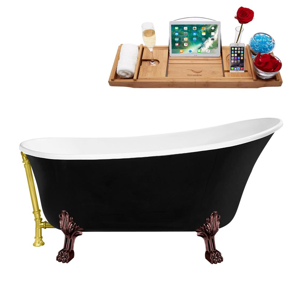 "59"" Streamline N344ORB-GLD Clawfoot Tub and Tray With External Drain"
