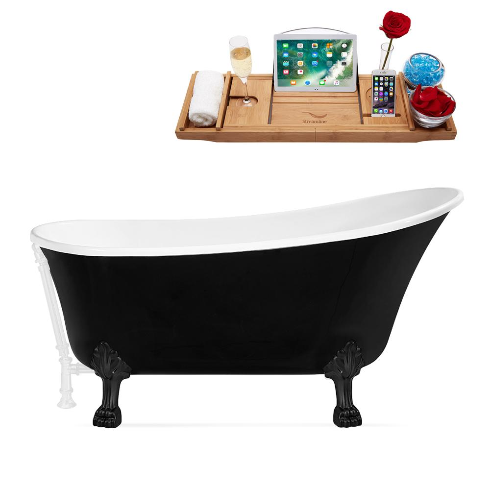 "67"" Streamline N345BL-WH Clawfoot Tub and Tray With External Drain"