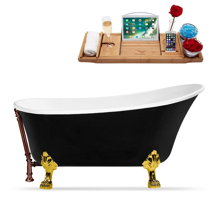 "67"" Streamline N345GLD-ORB Clawfoot Tub and Tray With External Drain"