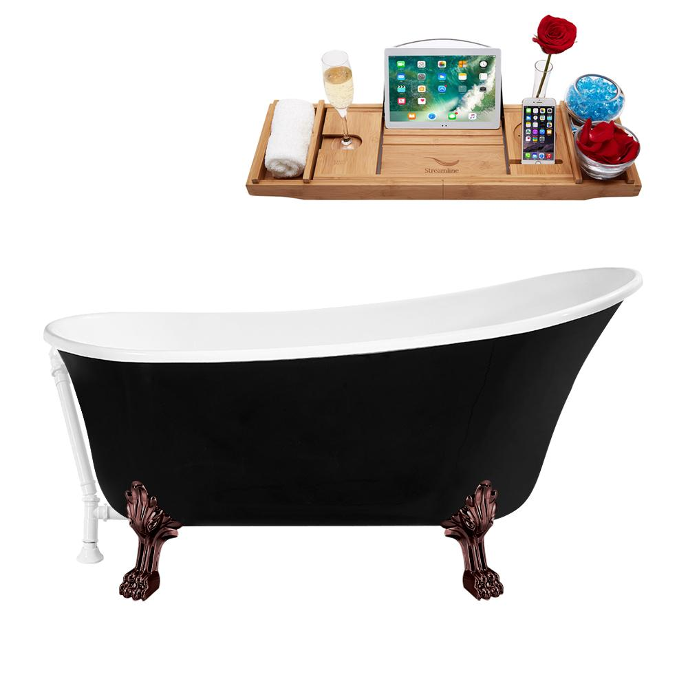 "67"" Streamline N345ORB-WH Clawfoot Tub and Tray With External Drain"