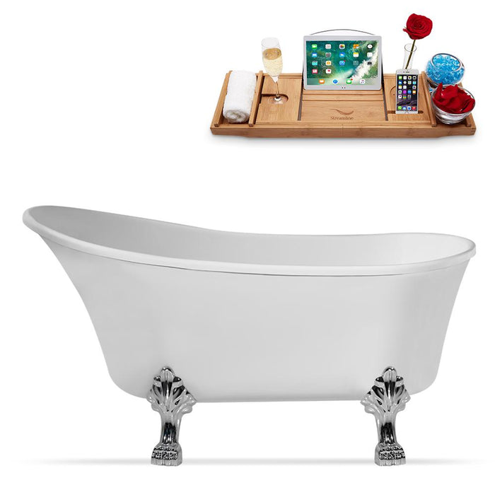 "55"" Streamline N346CH-IN-ORB Clawfoot Tub and Tray With Internal Drain"