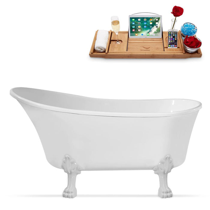 "55"" Streamline N346WH-IN-WH Clawfoot Tub and Tray With Internal Drain"