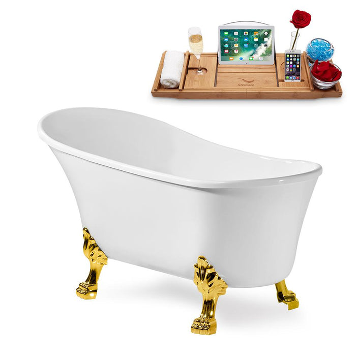 "59"" Streamline N347GLD-IN-ORB Clawfoot Tub and Tray With Internal Drain"