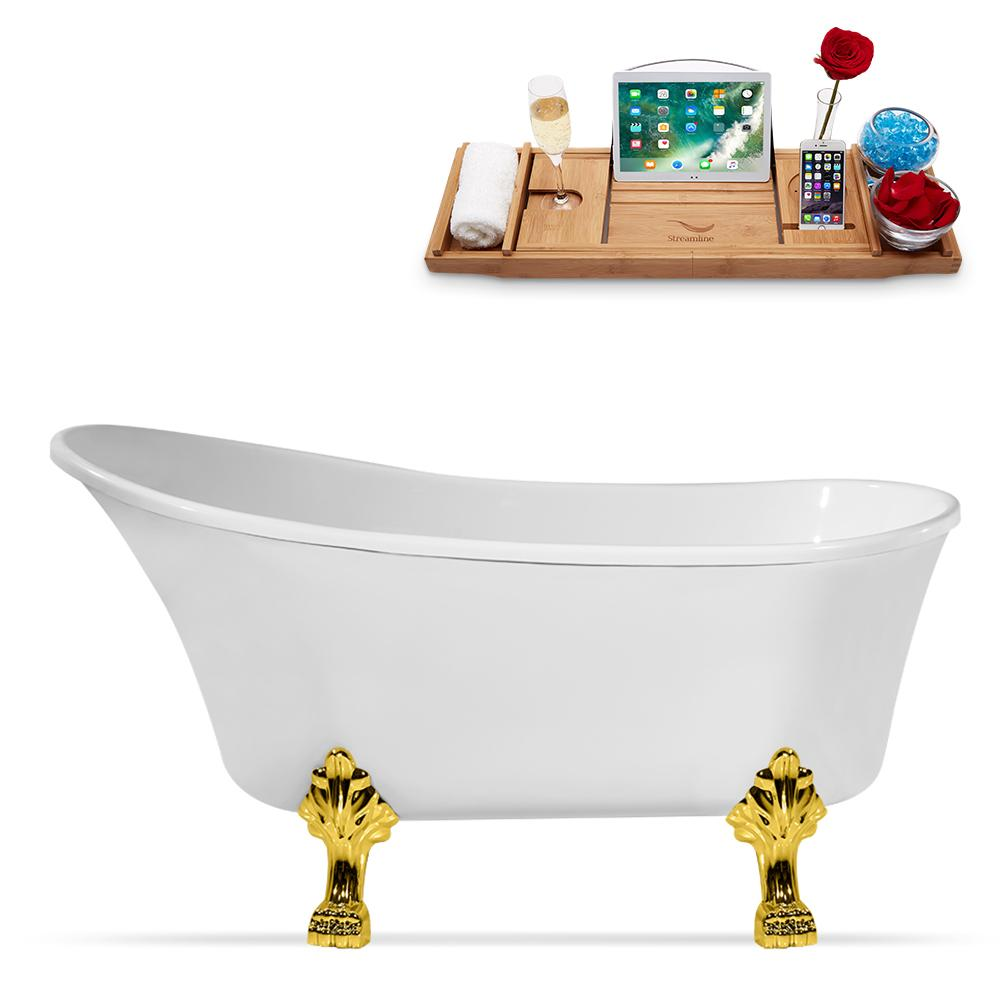 "59"" Streamline N347GLD-IN-WH Clawfoot Tub and Tray With Internal Drain"