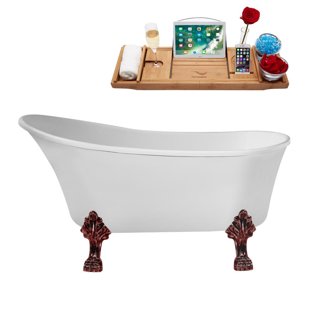 "59"" Streamline N347ORB-IN-WH Clawfoot Tub and Tray With Internal Drain"