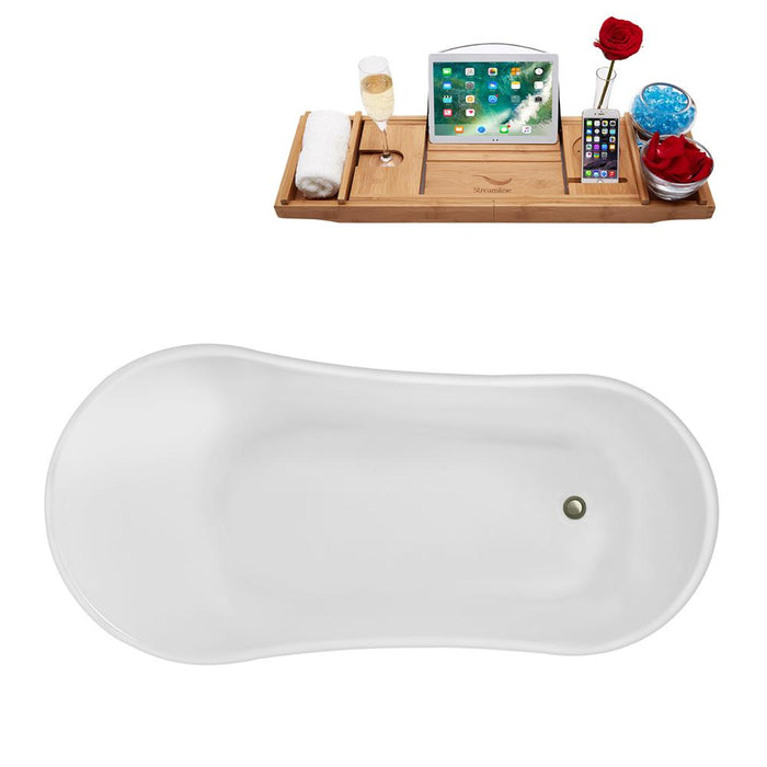 "63"" Streamline N348BNK-IN-BNK Clawfoot Tub and Tray With Internal Drain"