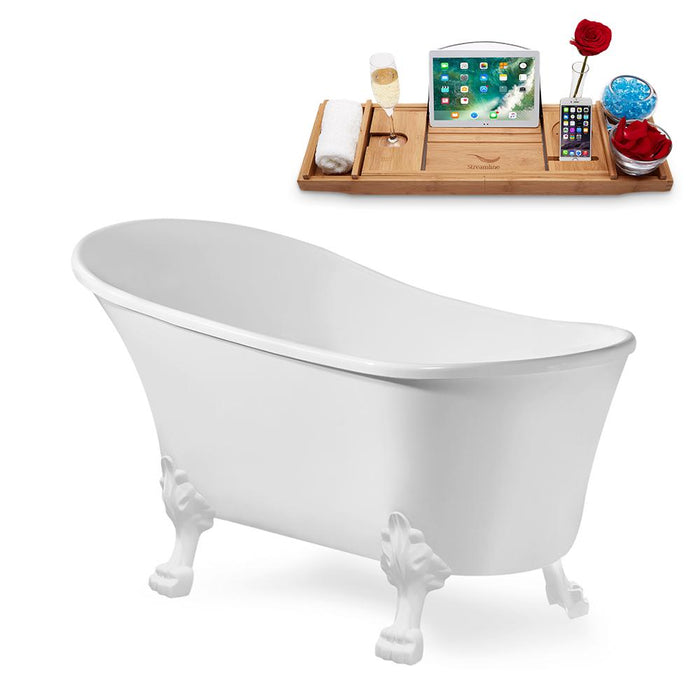 "63"" Streamline N348WH-IN-WH Clawfoot Tub and Tray With Internal Drain"