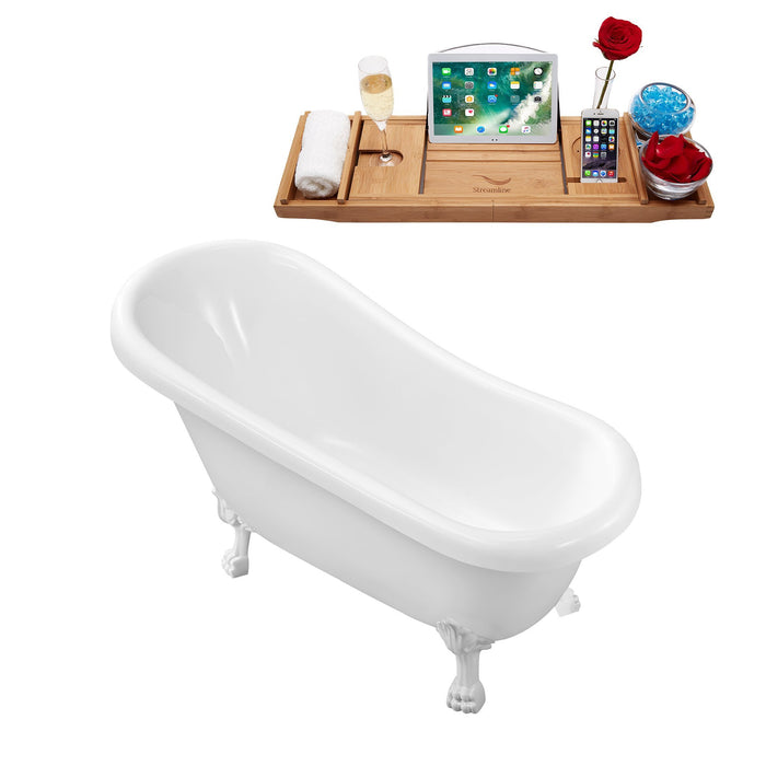 "61"" Streamline N480WH Soaking Clawfoot Tub and Tray With Internal Drain"