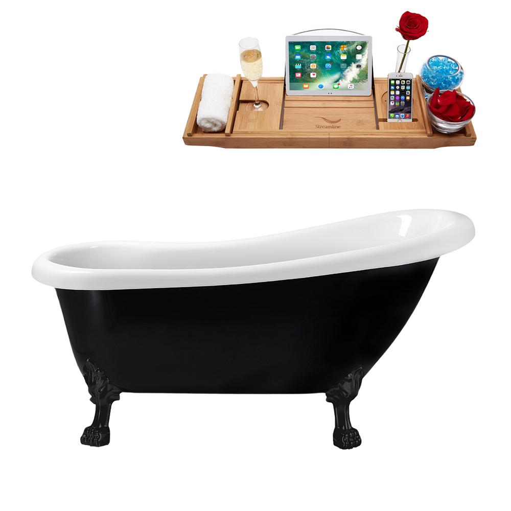 "61"" Streamline N481BL-IN-BL Clawfoot Tub and Tray With Internal Drain"