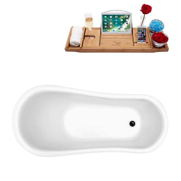 "61"" Streamline N481BNK-IN-BL Clawfoot Tub and Tray With Internal Drain"