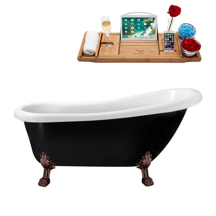 "61"" Streamline N481ORB-IN-BL Clawfoot Tub and Tray With Internal Drain"