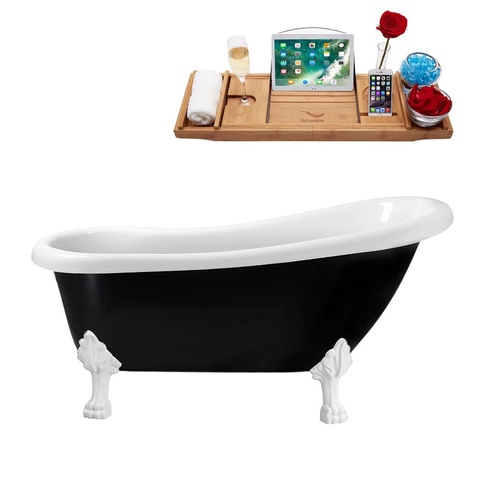 "61"" Streamline N481WH-IN-BL Clawfoot Tub and Tray With Internal Drain"