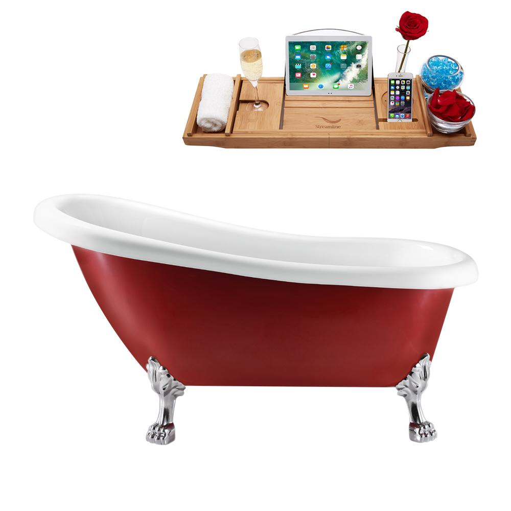 "61"" Streamline N482CH-IN-WH Clawfoot Tub and Tray With Internal Drain"