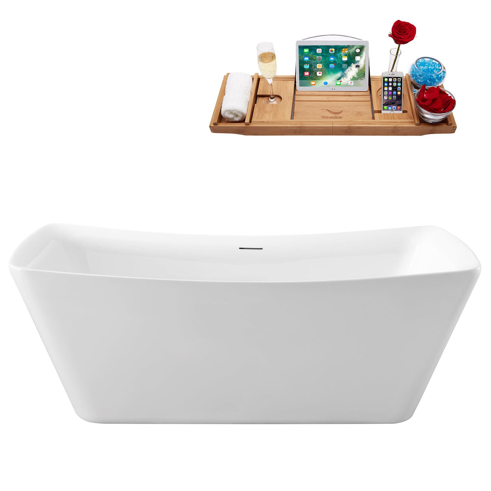 62'' Streamline N550BNK Freestanding Tub and Tray With Internal Drain