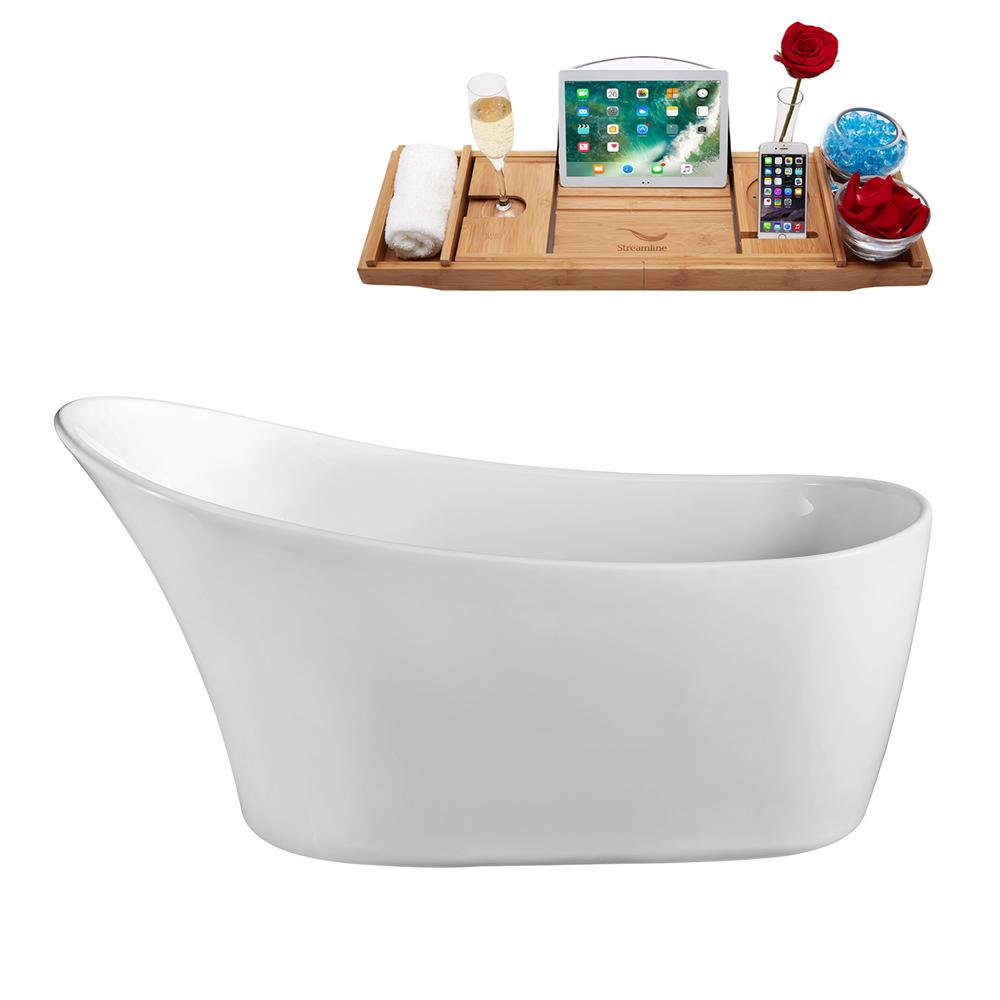 "67"" Streamline N822-IN-BL Soaking Freestanding Tub and Tray With Internal Drain"