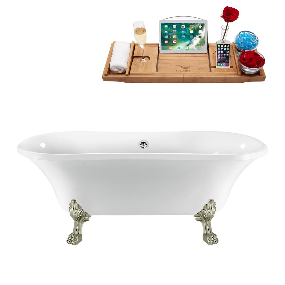 "68"" Streamline N861BNK-CH Clawfoot Tub and Tray With External Drain"