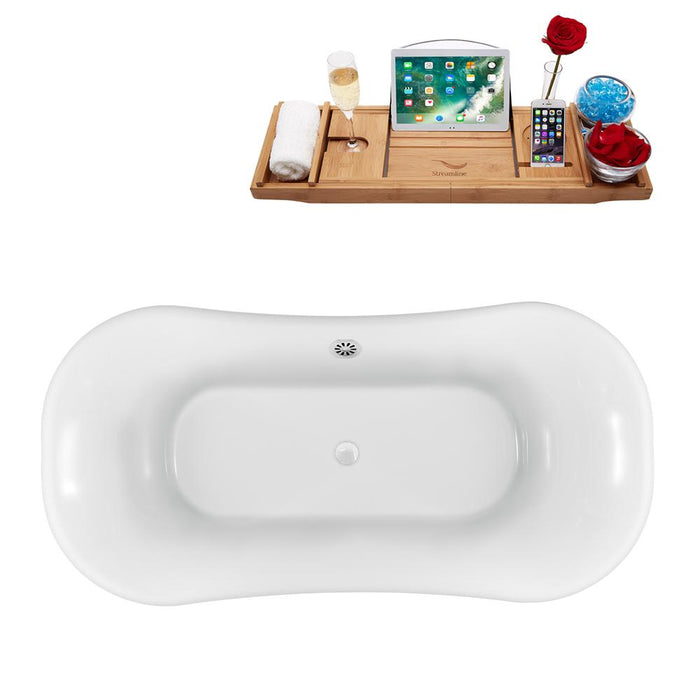 "68"" Streamline N861GLD-WH Clawfoot Tub and Tray With External Drain"