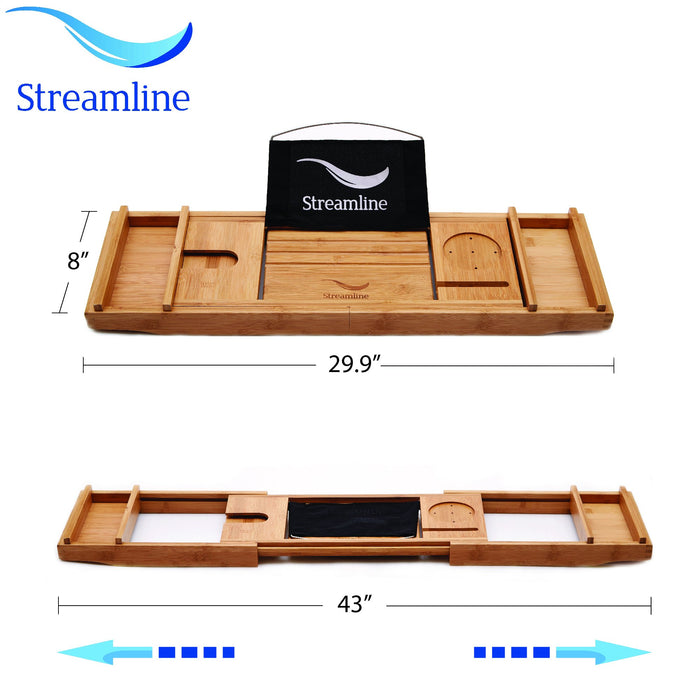 "68"" Streamline N861WH-BL Clawfoot Tub and Tray With External Drain"